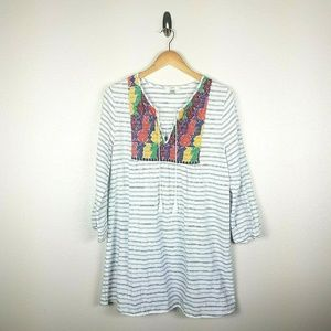 J Crew Embroidered Striped Tunic szS Colorful